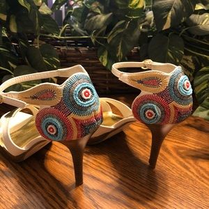 Shoes - White and Gold Embroiderb